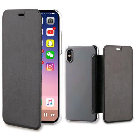 QILIVE Etui folio porte cartes pour Iphone X - Noir et transparent