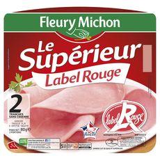 Fleury Michon le Supérieur Jambon Label Rouge sans couenne 2 tranches 80g
