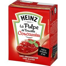 HEINZ Pulpe de tomates concassées sans conservateur, en brique 390g