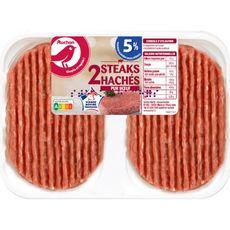 AUCHAN Steaks Hachés Pur Boeuf 5%mg 2 pièces 250g