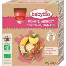 BABYBIO Babybio gourde pomme abricot banane 4x90g dès6mois