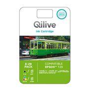 QILIVE Pack cartouche d'encre Noir + Cyan + Magenta + Jaune E-29 - Compatibles Expression Home XP-235/332/335/432/435