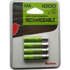 Auchan pile rechargeable HR03 1000mah x4