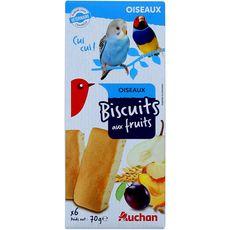 AUCHAN Biscuits au fruits pour oiseaux 6 pièces