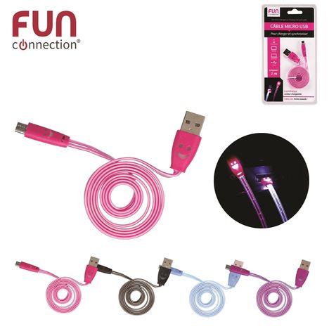CMP Câble Micro USB vers USB - Mâle/mâle - 1 mètre - Couleur aléatoire : Rose / Bleu / Noir / Violet