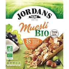 JORDAN'S Muesli de céréales bio fruits, noix et graines ss sucre ajouté 500g