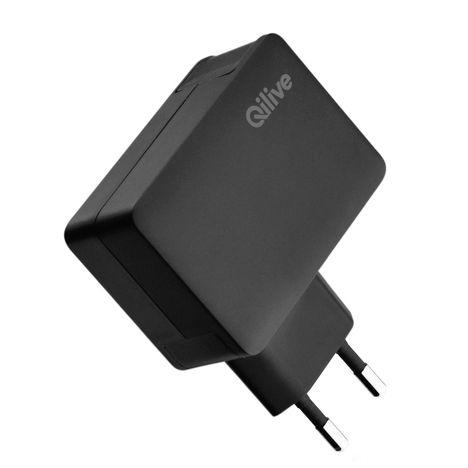 QILIVE Prise chargeur Secteur / USB x2- Femelle - Noir