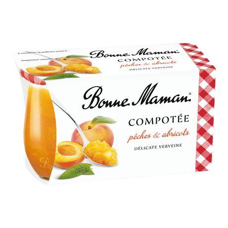 Dessert pêche abricot verveine en compotée BONNE MAMAN, 2x130g