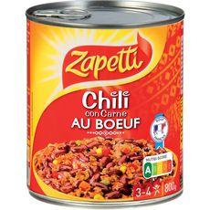 ZAPETTI Chili con carne au bœuf 3-4 personnes 800g