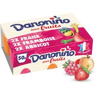 Danonino petit suisse fruits fraise framboise abricot 6x50g