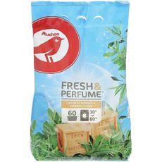 AUCHAN Fresh & Perfume lessive poudre savon de Marseille 60 lavages 4,5kg