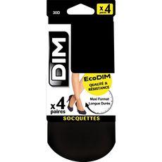 DIM Dim Socquettes ecodim femme noires 30D taille 35/41 x4 4 pièces