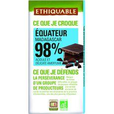 Ethiquable bio chocolat noir 98% équateur 100g