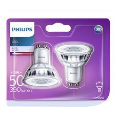 Philips Ampoules led GU10 spot 50w warm light 390 lumen x2