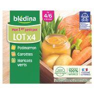 Blédina pot 2 carottes 1 haricot 1 potiron 4x130g dès4/6mois