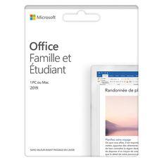 MICROSOFT Logiciel bureautique Office Famille et étudiant 2019 - Pour PC ou MAc - Licence à vie - Pour 1 utilisateur