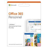 MICROSOFT Logiciel bureautique Office 365 Personnel  - Pour PC, Mac, Android et iOs - 1 licence pour 1 utilisateur - Abonnement 12 mois