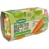 Blédina récoltes bio carottes de Bretagne 2x130g dès 4/6m
