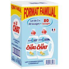 Le Chat lessive sensitive lavage x80 -2x2l familial