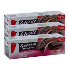 AUCHAN Biscuits génoise chocolat noir à la framboise 3x150g
