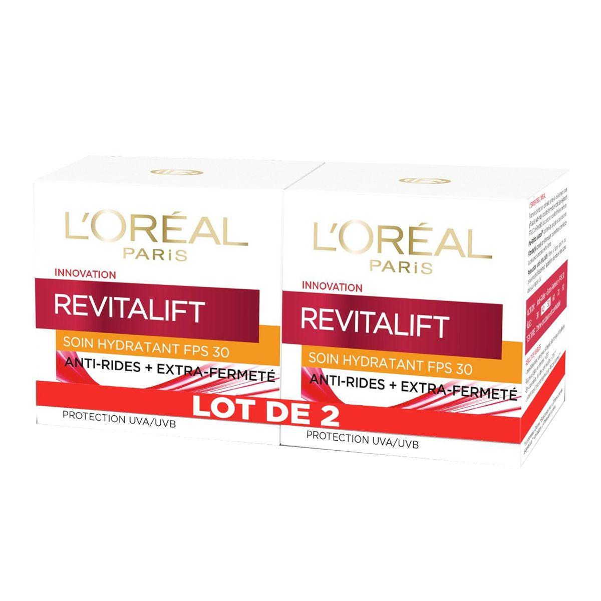 L'Oréal Revitalift soin hydratant FPS 30 anti-rides et fermeté 2x50ml