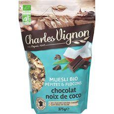 CHARLES VIGNON Charles Vignon muesli pépites flocons chocolat coco bio 375g