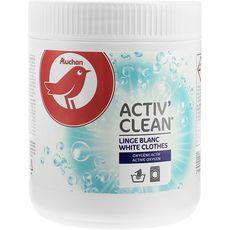 AUCHAN Activ' Clean poudre détachante à l'oxygène actif linge blanc 500g