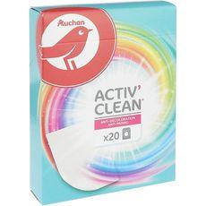 AUCHAN Activ' Clean lingettes anti-décoloration 20 lingettes