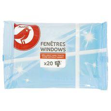 AUCHAN Lingettes nettoyante pour vitres 20 lingettes