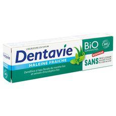 Dentavie Dentifrice haleine fraîche menthe & eucalyptus bio 75ml
