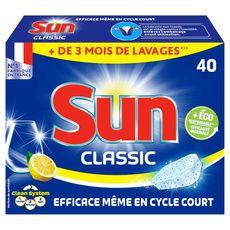 Sun tablettes lave-vaisselle classic citron 40 lavages