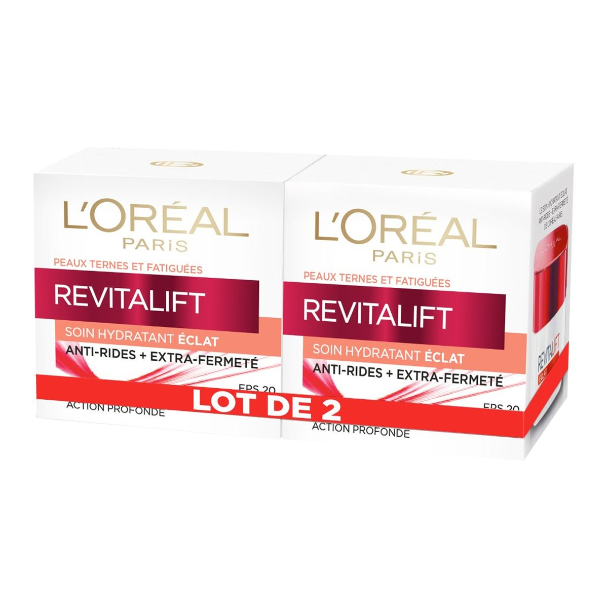 L'Oréal Revitalift soin hydratant éclat 2x50ml