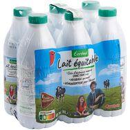 Auchan lait équitable écrémé bouteille 6x1l