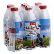 Auchan lait équitable entier bouteille 6x1l