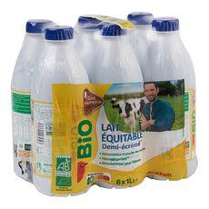 Auchan Bio Lait demi-écrémé équitable UHT responsable 6x1L