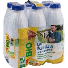 Auchan Bio Lait demi-écrémé équitable UHT responsable 6x50cl