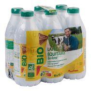 Auchan bio lait équitable écrémé bouteille 6x1l