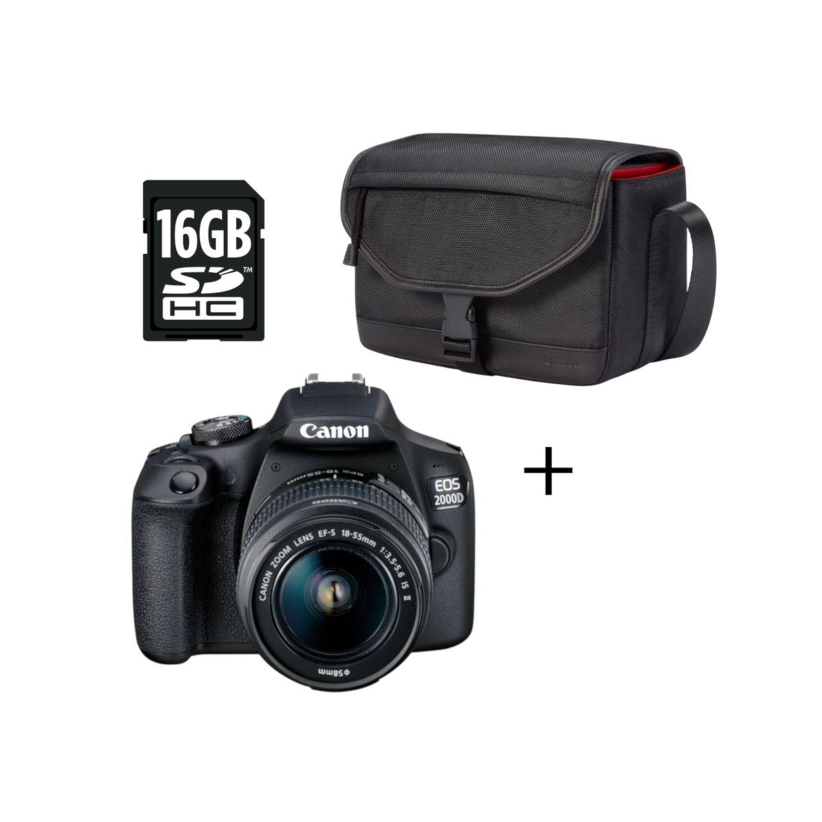 CANON Appareil Photo Reflex - EOS 2000D - Noir + Objectif 18-55mm IS II + Housse SB130 + Carte mémoire SD 16 Go + Chiffonnette