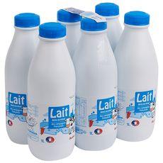Auchan lait demi-écrémé bouteille 6x1l