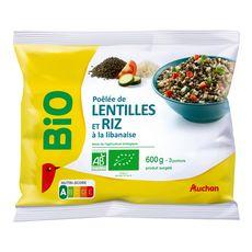 AUCHAN BIO Poêlée de lentilles et de riz à la Libanaise 3 portions 600g