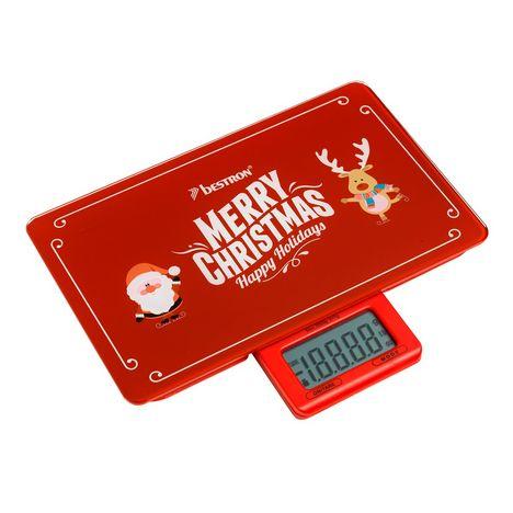 BESTRON Balance de cuisine AKS300C Christmas, Rouge