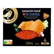AUCHAN Saumon fumé de Norvège 4 tranches 160g