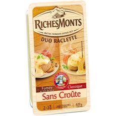 RICHESMONTS RichesMonts Fromage à raclette nature et fumé sans croûte 2x8 tranches 420g 2x8 tranches 420g