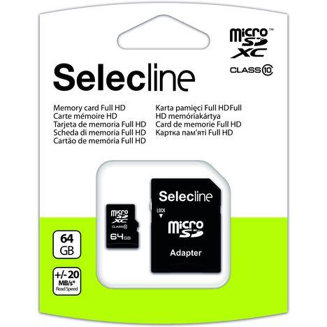 SELECLINE Carte Micro SDXC avec adaptateur Micro SD - 64 Go - Classe 10