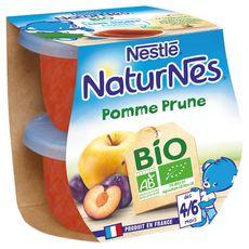 Nestlé Naturnes petit pot dessert pomme prune bio dès 4 mois 2x115g