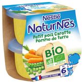 Nestlé naturnes bio pomme terre pois carottes 2x130g 4/6mois
