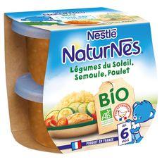 Naturnes bio légumes du soleil semoule poulet 2x190g dès6m