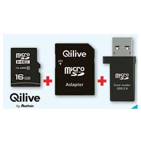 QILIVE Carte Micro SDHC - 16 Go - Classe 10 + Adaptateur SD + Lecteur de carte USB 2.0