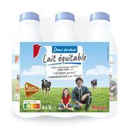 Auchan lait équitable demi-écrémé bouteille 6x1l