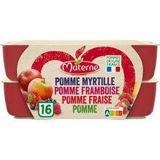 MATERNE Coupelles pomme myrtille framboise fraise allégé en sucres 16x100g